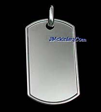 silver rolled edge dog tag
