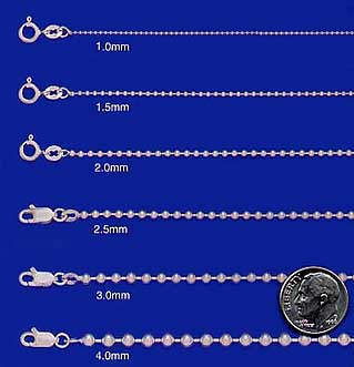 Sterling Silver Bead Ball Chains