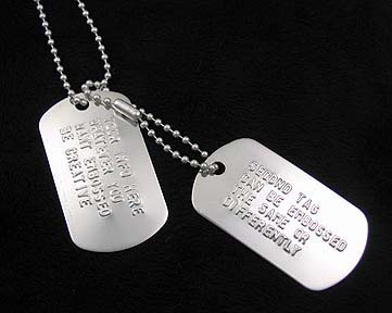 sterling silver embossed dog tag