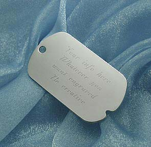 engraved sterling silver dog tag