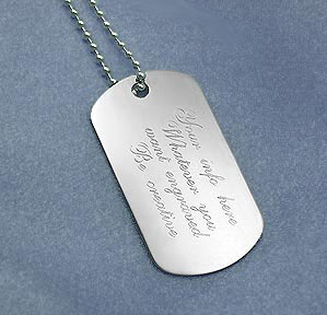 engraved sterling silver dog tags with sterling silver chain