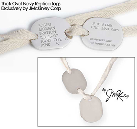 customized p1917 p1940 oval navy dog tags
