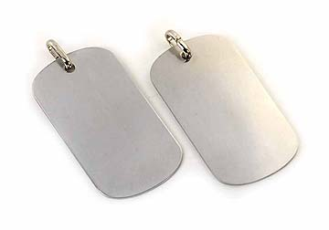 lightly brushed stainless steel dog tags with jump ring